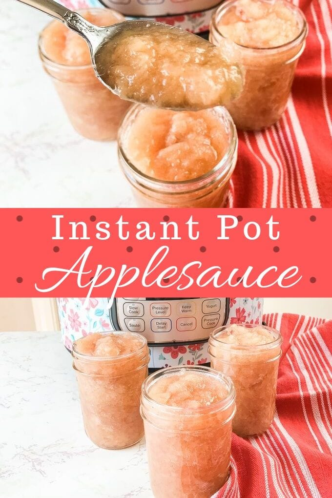 A collage photo of two pictures of instant pot applesauce.