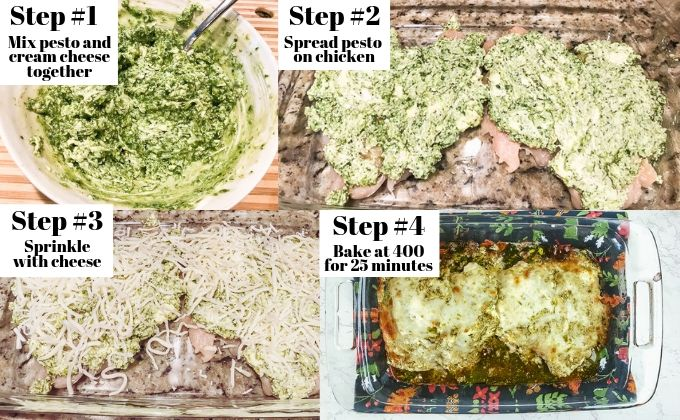 An image showing the four step process of making creamy pesto chicken.