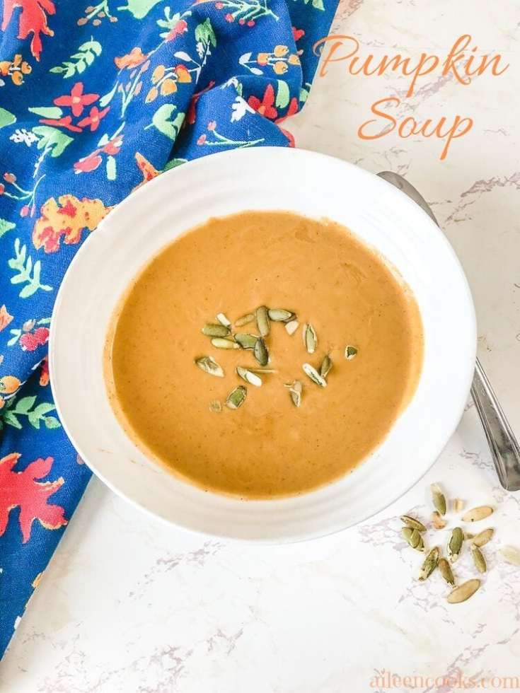 Whip up a batch of this easy pumpkin soup tonight! We love making this warm and flavorful pumpkin soup recipe all fall and winter long!