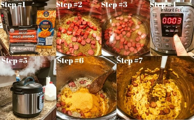 Step-by-step process shots of instant pot Kraft Mac and cheese recipe.