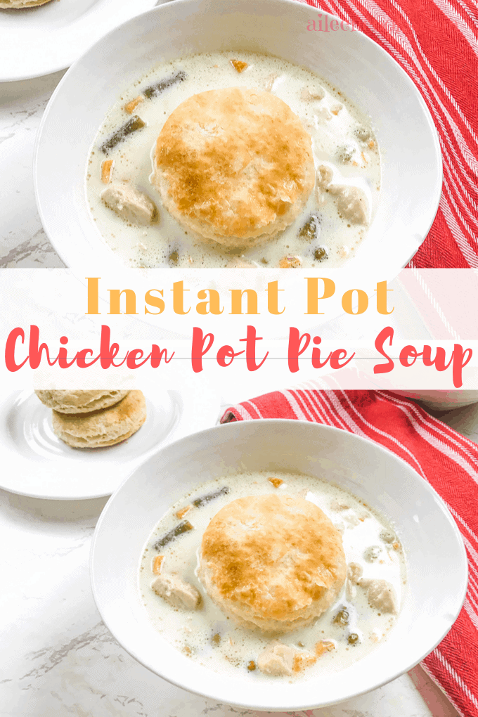 Make this creamy instant pot chicken pot pie soup tonight! This easy instant pot chicken soup recipe is ready in under 30 minutes, thanks to our handy pressure cooker!