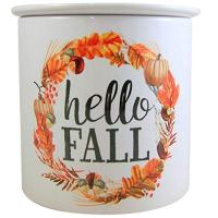 Carson Hello Fall Thanksgiving Large Ceramic Dip Chiller with Lid, Holds 2 Cups