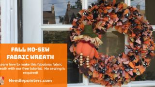 Easy No-Sew Fabric Wreath for Halloween or Fall Tutorial | Needlepointers.com