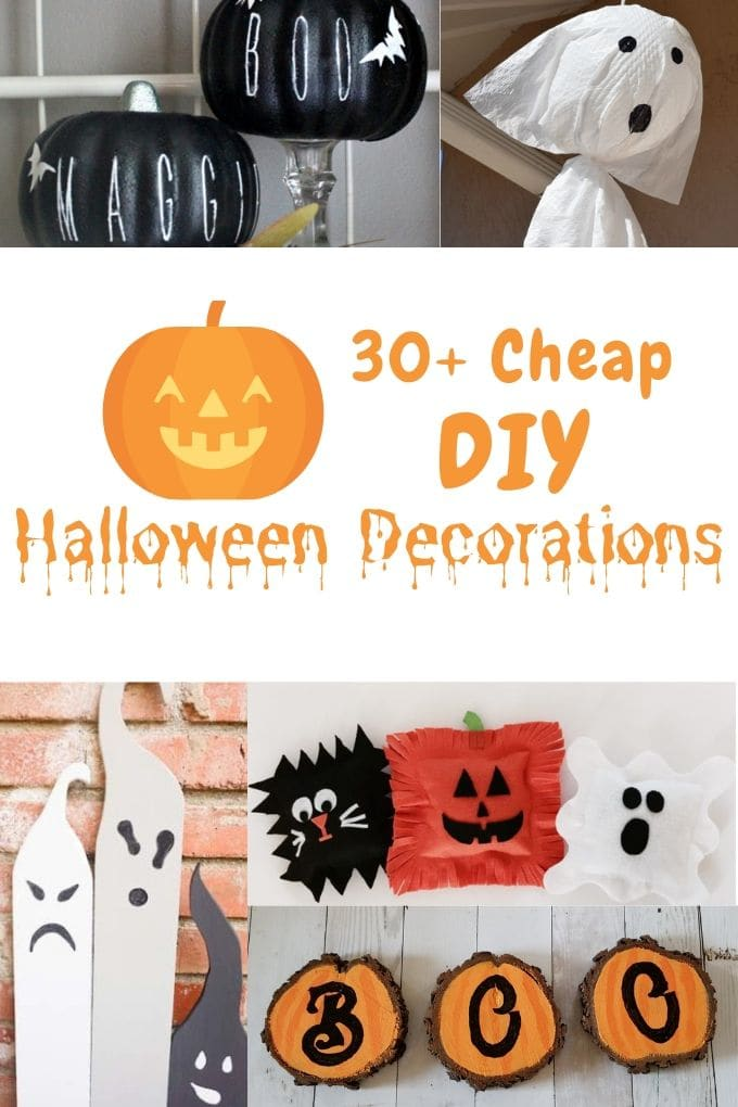 Collage photo of DIY Halloween decorations including felt pillows made into a ghost, pumpkin, and bat.