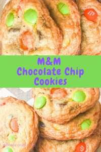 A collage photo featuring close up shots of M&M chocolate chip cookies.