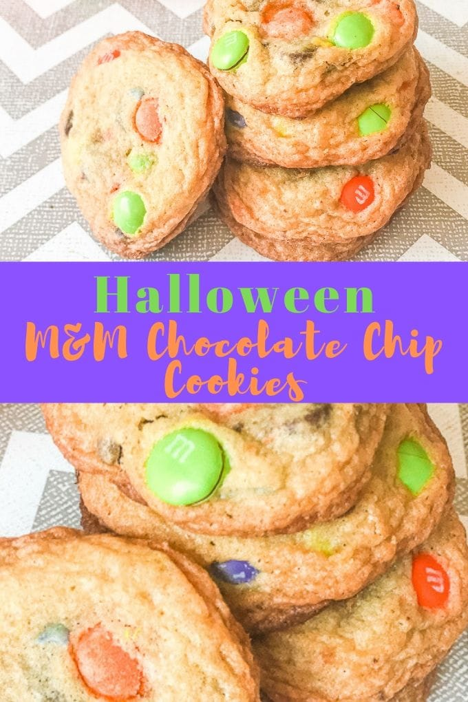 "A collage photo of halloween chocolate chip cookies with the words ""halloween M&M chocolate chip cookies"" in green and orange writing."