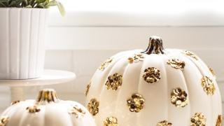DIY Sequin Polka Dot Pumpkin