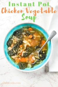 "A bowl of soup filled with vegetables and the text ""instant pot chicken vegetable soup"""