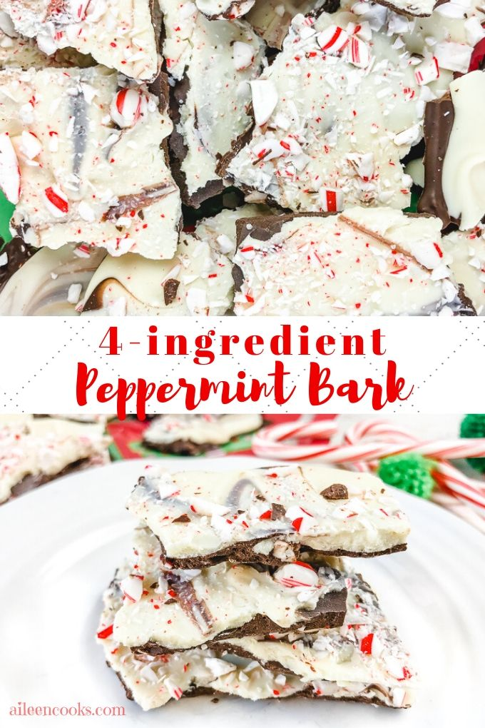 """A collage photo of peppermint bark and the words """"4-ingredient peppermint bark"""""""