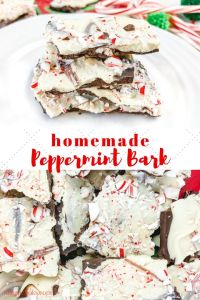 """A collage of two pictures of peppermint bark and the words """"homemade peppermint bark"""""""