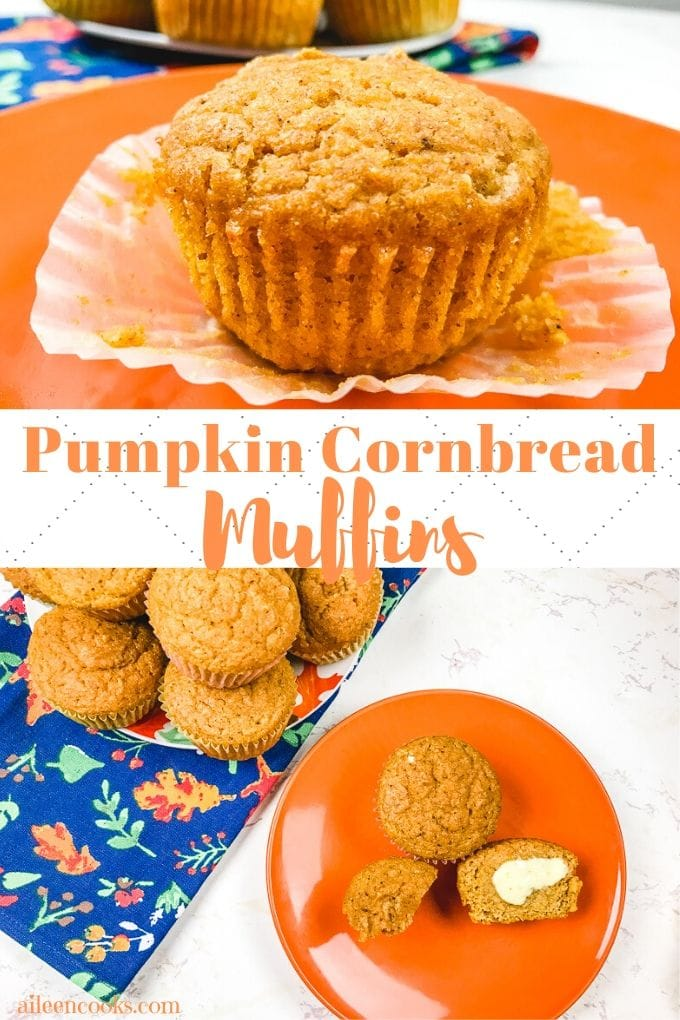 A collage photo of pumpkin cornbread muffins.