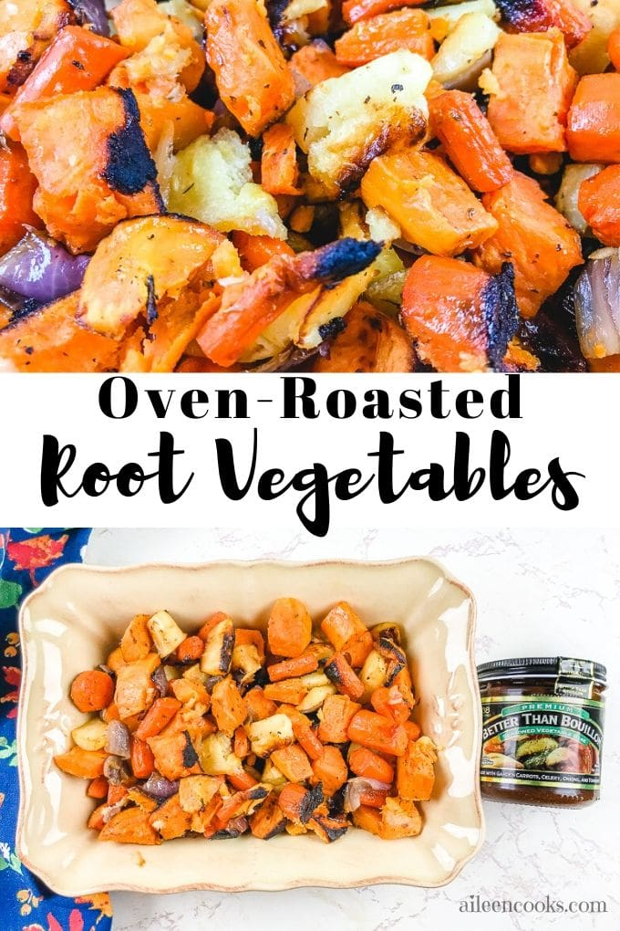 """Collage photo of roasted veggies with works """"oven roasted root vegetables"""""""