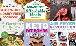 Collage photo of cookbook covers.