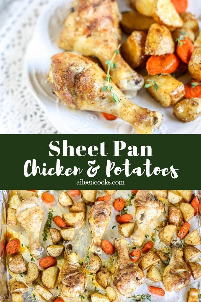 Sheet pan chicken and potatoes is an easy one-pan baked chicken recipe. You are going to love how quick and easy it is to make with very little clean-up!