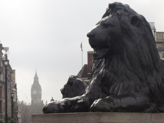 Trafalgar Square, Big Ben, Lion, London