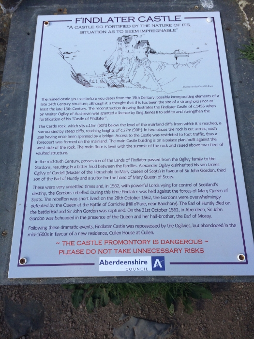 Informational board about Findlater Castle on the cliffs. Ailish Sinclair   Writer