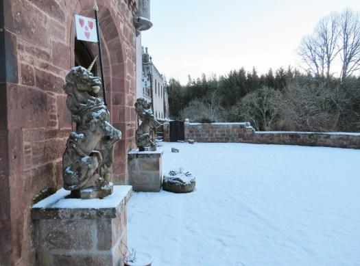 The unicorns of Delgatie Castle.
