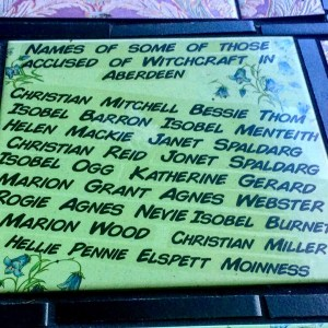 Tile naming some of those accused of being witches in Aberdeen, Scotland