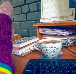 The desk of Scottish author Ailish Sinclair