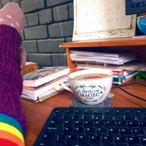The desk of Ailish Sinclair, author