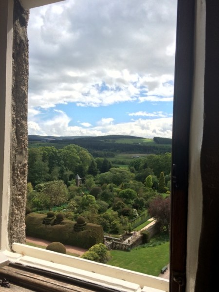 forest view from Crathes Castle window