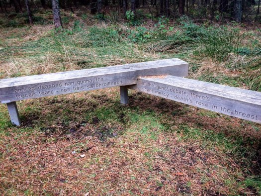 Memorial bench beside the Cumberland Stone at Culloden.