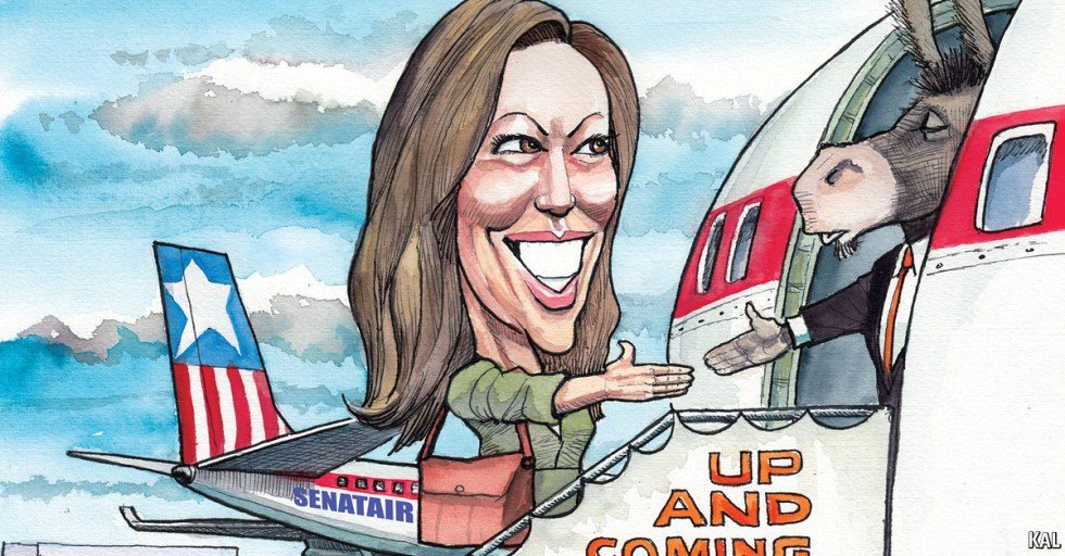 Kamala Harris on DEM airplane