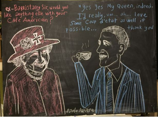 coup obama queen chalk
