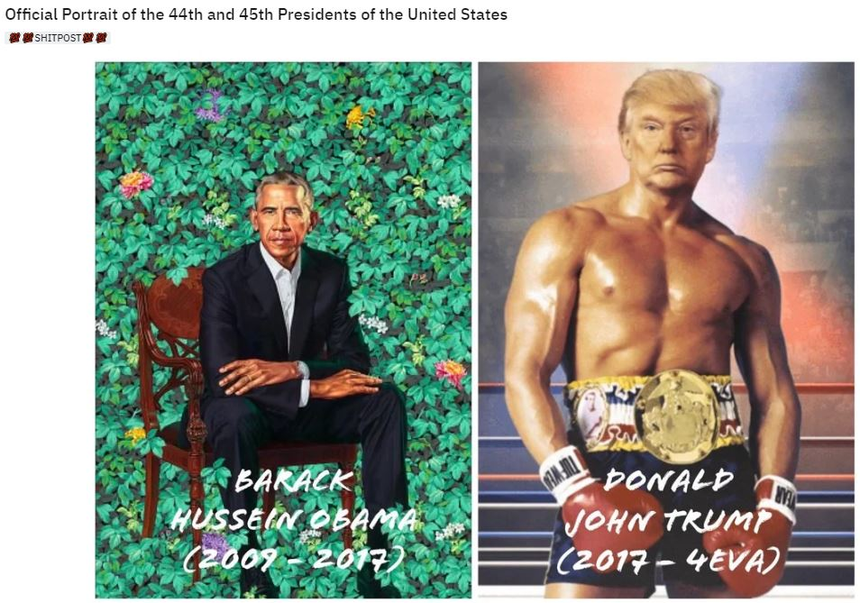 obama trump official painting boxer