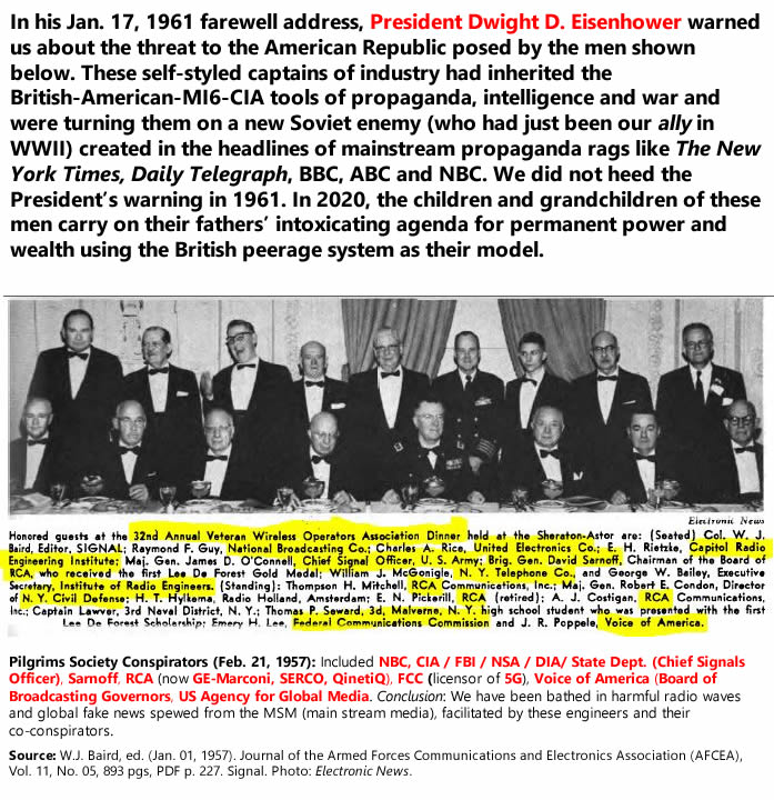 In his Jan. 17, 1961 farewell address, President Dwight D. Eisenhower warned us about the threat to the American Republic posed by the men shown below. These self-styled captains of industry had inherited the British-American-MI6-CIA tools of propaganda, intelligence and war and were turning them on a new Soviet enemy (who had just been our ally in WWII) created in the headlines of mainstream propaganda rags like The New York Times, Daily Telegraph, BBC, ABC and NBC. We did not heed the President's warning in 1961. In 2020, the children and grandchildren of these men carry on their fathers' intoxicating agenda for permanent power and wealth using the British peerage system as their model. Pilgrims Society Conspirators (Feb. 21, 1957): Included NBC, CIA / FBI / NSA / DIA/ State Dept. (Chief Signals Officer), Sarnoff, RCA (now GE-Marconi, SERCO, QinetiQ), FCC (licensor of 5G), Voice of America (Board of Broadcasting Governors, US Agency for Global Media. Conclusion: We have been bathed in harmful radio waves and global fake news spewed from the MSM (main stream media), facilitated by these engineers and their co-conspirators. Source: W.J. Baird, ed. (Jan. 01, 1957). Journal of the Armed Forces Communications and Electronics Association (AFCEA), Vol. 11, No. 05, 893 pgs, PDF p. 227. Signal. Photo: Electronic News.