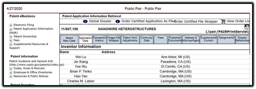 nanowire inventors