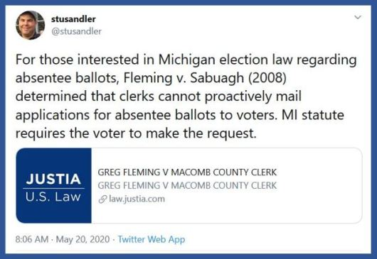 michigan mail ballot law