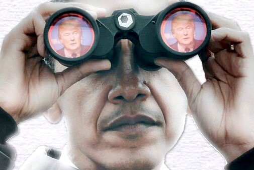 obama spies trump binoculars