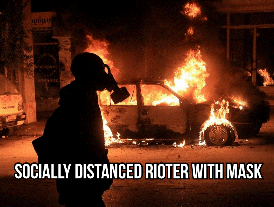 rioter in mask