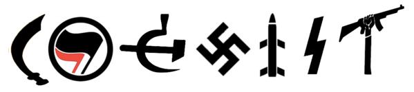 coexist antifa nazi