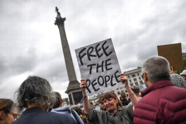 Jillian MacMath. (Aug. 29, 2020). PHOTO#03: Thousands of anti-lockdown protesters gather at Trafalgar Square in London. Wales Online. For educational purposes only. Fair Use relied upon.
