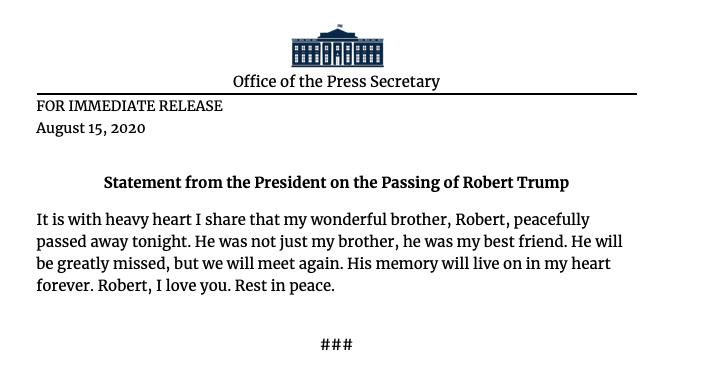 Robert trump dies