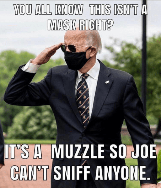 face mask sniff muzzle biden