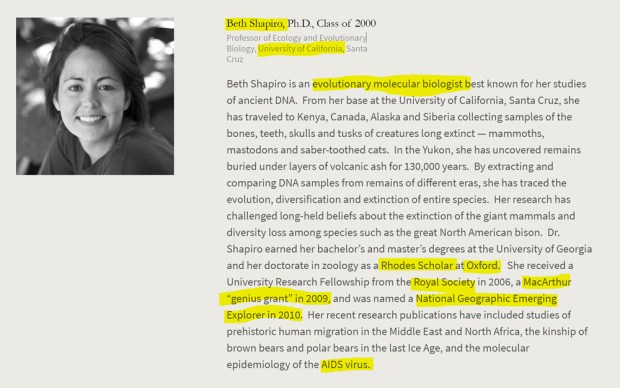 Beth Shapiro, Rhodes Scholar, Oxford, Royal Society, National Geographic, AIDS. American Academy of Achievement aka British Pilgrims Society, Washington, D.C. subsidiary.