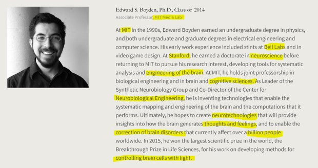 Edward S. Boyden, MIT, Stanford, Bell Labs nanotube professor who regularly collaborates with indicted Harvard professor Charles M. Lieber, American Academy of Achievement aka British Pilgrims Society, Washington, D.C. subsidiary.