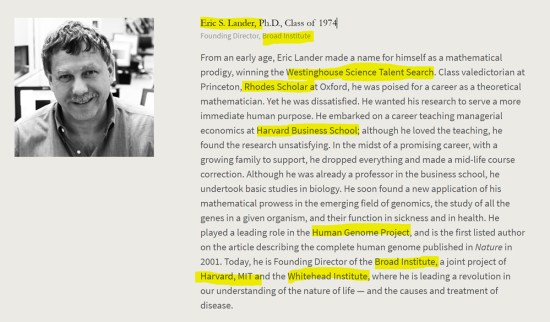 Eric S. Lander, groomed Rhodes Scholar, Oxford, Harvard, MIT, Human Genome Project, MIT, Whitehead Institute. American Academy of Achievement aka British Pilgrims Society, Washington, D.C. subsidiary.