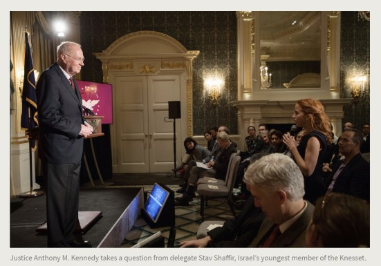 Press Release. (Oct. 10, 2017). 52nd International Academy of Achievement, London and Oxfordshire, keynote speaker Neil Gorsuch. U.S./UK Pilgrims Society. (Justice Anthony M. Kennedy takes a question from delegate Stav Shaffir, Israel's youngest member of the Knesset.)
