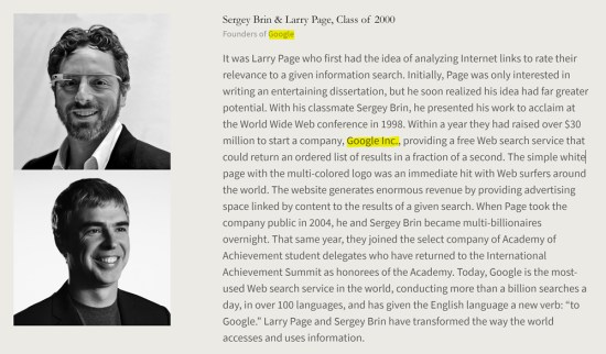 C.I.A. founded Google, Sergey Brin and Larry Page are cardboard cutouts. American Academy of Achievement aka British Pilgrims Society, Washington, D.C. subsidiary.