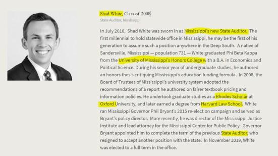 Shad White, Mississippi, Rhodes Scholar, Oxford. American Academy of Achievement aka British Pilgrims Society, Washington, D.C. subsidiary.