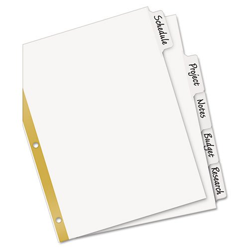 Avery Big Tab Write-On Dividers 5-TABS White 1 Set 23075