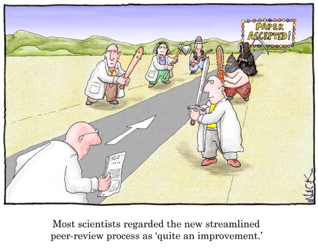 Cartoon depicting peer review as a series of physical beatings.