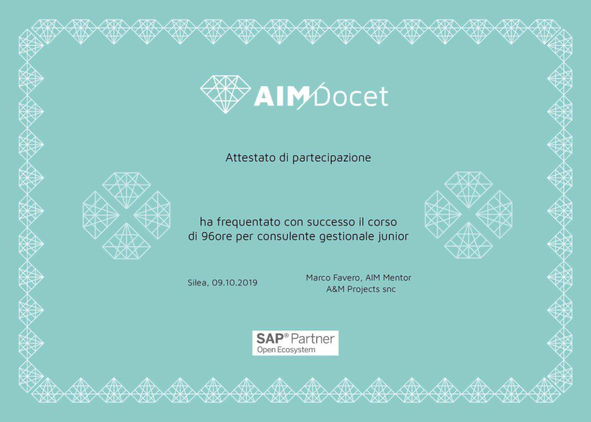 Attestato di partecipazione ai corsi di formazione SAP di AIM Docet