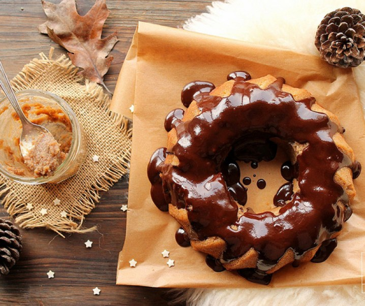 Bundt cake with chestnut and chocolate frosting {gluten-free}