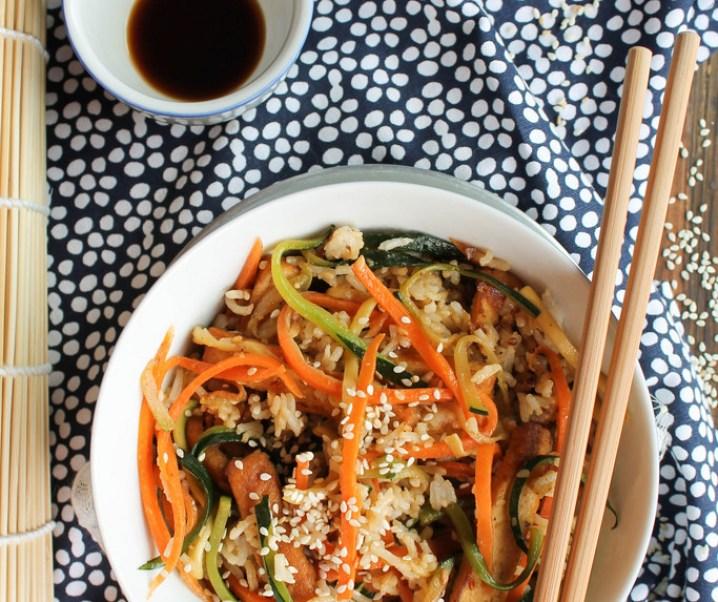 Gebakken rijst met groenten en tofu {Vegan- glutenvrij}