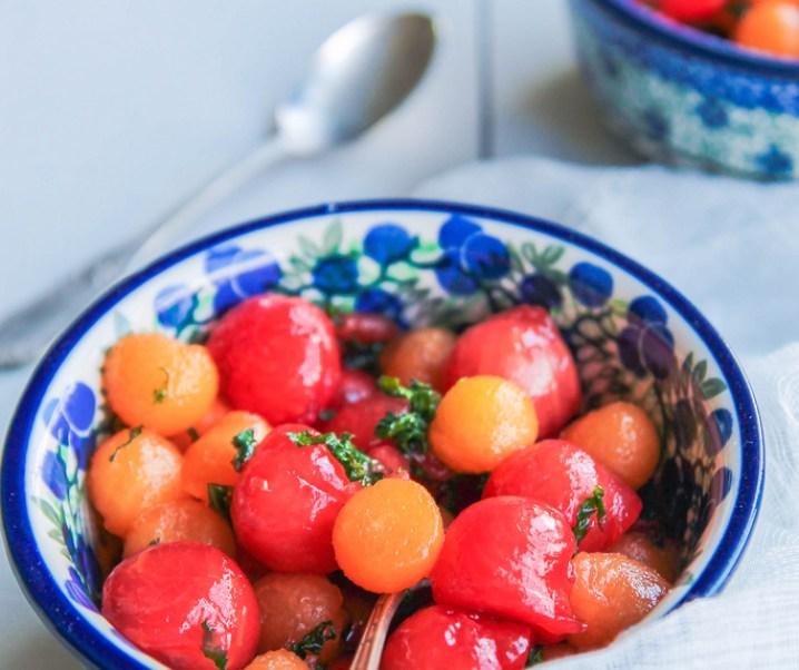 Salade de melon et pastèque au sirop de menthe
